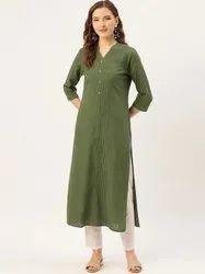 Jaipur Kurti Olive Green Pin Tucks Solid Straight Kurta