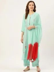 Jaipur Kurti Aqua Embroidered Straight Kurta With Palazzo And Dupatta
