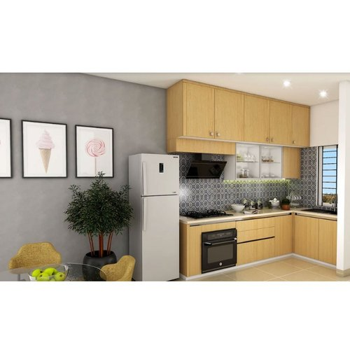 Modern Light Wood L Shaped Kitchen