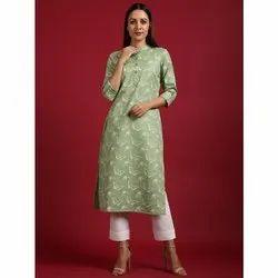 Janasya Women's Light Green Cotton Flex Kurta(JNE3570)