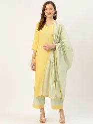 Jaipur Kurti Yellow Embroidered Straight Kurta With Palazzo & Dupatta