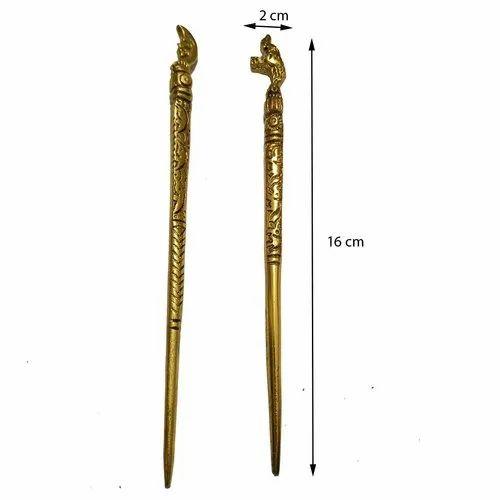 Golden Unique Gold Oxidised Metal Hair Sticks