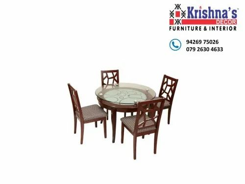 4 Teak Wood Four Seater Glass Top, Round Glass Dining Table With Four Chairs