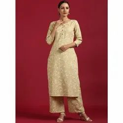 Janasya Women's Cream Cotton Flex Kurta With Palazzo (SET231)
