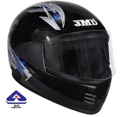 JMD Elegant Black-Blue Decor Motorcycle Helmet