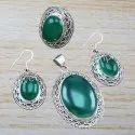 925 Sterling Silver Green Onyx Gemstone Jewelry Set