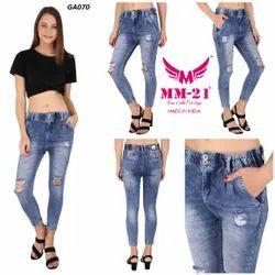 MM-21 Light Blue Funky Mid Waist Skinny Fir Jeans For Women
