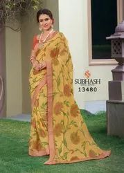 13480- Fancy Floral Design Brasso Saree With Blouse