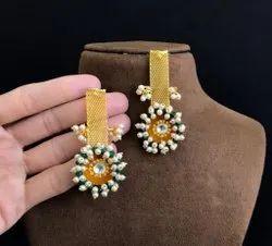 Golden Brass Fusion Statement Earrings
