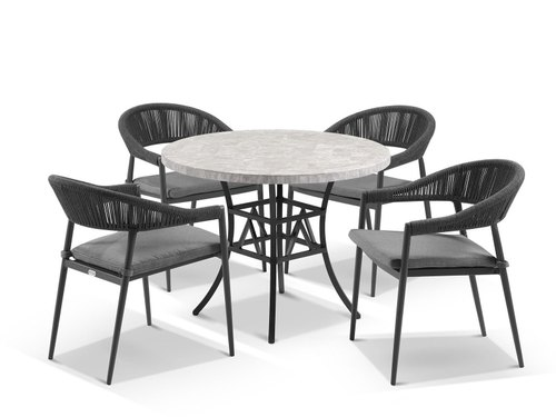 Paris Grey Marble Natural Stone Luna Round Dining Table With Nivala Chairs For Home Hotel And Office Size 100cm Rs 120000 Set Id 22919675762