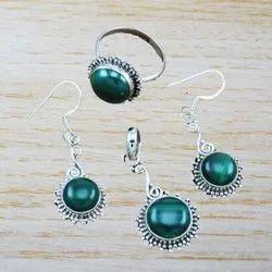 925 Sterling Silver Designer Malachite Gemstone Jewelry New Set