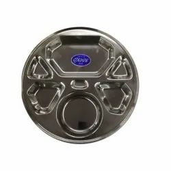 Stainless Steel Round 6 Compartment Plate