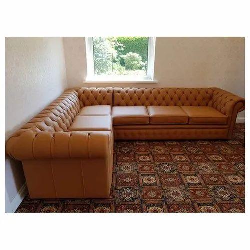 Modern Tan Leather L Shape Sofa Set, Modern Tan Leather Sofa