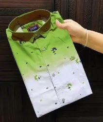 Collar Neck Men Printed Cotton Green Shaded Casual Partywear Shirt