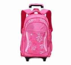 Polyester Printed Pink Trolley School Bag