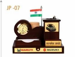 Analog Brown Wooden Table Top Clock, For Office