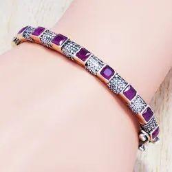 925 Sterling Silver Ruby Gemstone Jewelry Bangle SJWB-82