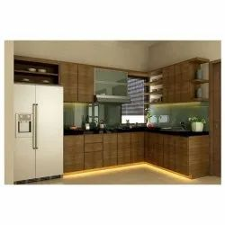 L Shape Modern Wooden Modular Kitchen, Base Unit Height: 4 Feet