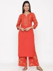 Jaipur Kurti Women Red Ethnic Motifs Rayon Slub Kurta With Palazzo