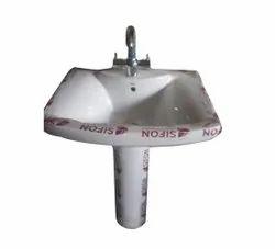 Ceramic White Sifon Pedestal Wash Basin, For Bathroom