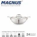 Magnus Triply Induction Kadai With SS Lid, 180mm, Steel - Aluminum - Steel, 1.4 litre