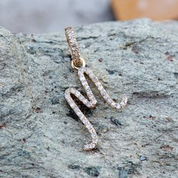 14k Gold And Diamond Initial Pendant Charm, Pave Diamond Pendant, Pave Initial Pendant