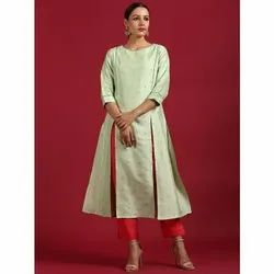 Janasya Women''s Light Green Poly Silk Kurta(JNE3503)
