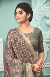 Apple Sarees Tisha Kanjivaram Printed Silk Saree Catalog