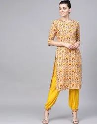 Jaipur Kurti Printed Straight Kurta With Solid Front Pleated Salwar