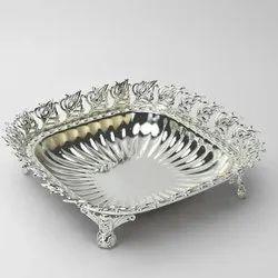 Peacock Design Rimmed Square Silver Bowl (Medium)