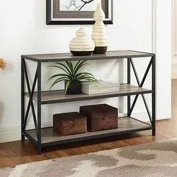 Brown Rectangular X Frame Metal and Wood Console Table, For Home