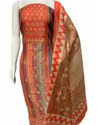 Semi-stitched Ladies Chanderi Printed Silk Dress Material, Handwash