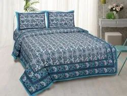 Hand Block Print C Green Exclusive Fancy Designer Bed Sheet 304, For Home, Size: 90x108