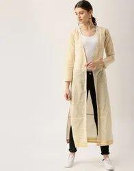 Jaipur Kurti Women Off White Stripes Shrug