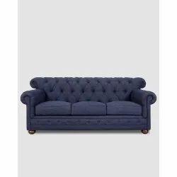 Blue Sal Wood (Frame) Fabric Chesterfield Office Sofa