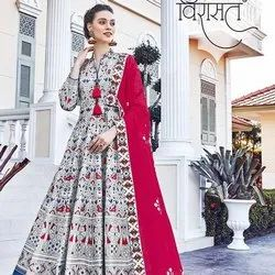 Circular Embroidered Tejaswee Virasat Mayuri Killer Silk Readymade Drees - 7 Pcs Set, Dry Clean