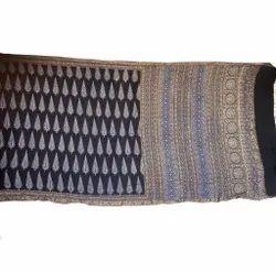Festive Wear Printed Hand Block Ajrakh Silk Saree, 6.3 m (with blouse piece)