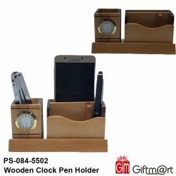 Giftmart Analog PS-084-5002 Wooden Clock and pen Holder, For Office