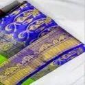 Trt 6 M Blue Satin Anchal Sholder Saree, With Blouse Piece