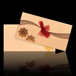 Wedding Card - KNK30381 Lovely Ribbon Type Opening With Cream Shading Card