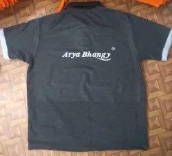 Printed Collar Grey Cotton Tshirt