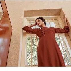 Linige Silk With Fancy Hand Work Kurti -6 Pcs Set