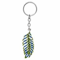 Multicolor Peacock Feather Keychain