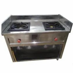 Silver SS Double Burner Gas Stove, For Kitchen, Size: 46 X 24 X 34