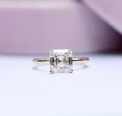 2.00 Ct Colorless Asscher Cut Solitaire Ring, Moissanite Engagement Ring, 18KT White Gold