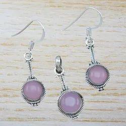 Rose Quartz Gemstone Sterling Silver Handmade Jewelry Set