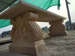 Sandstone Carved Garden Bench