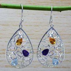 925 Sterling Silver Jewelry Multi Gemstones Earring