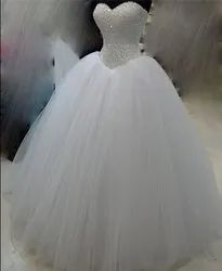 White Net Christian Wedding Gown, Off Shoulder, Size: Free