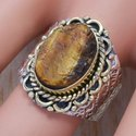 925 Sterling Silver Jewelry Rough Tiger Eye Gemstone Ring SJWR-331